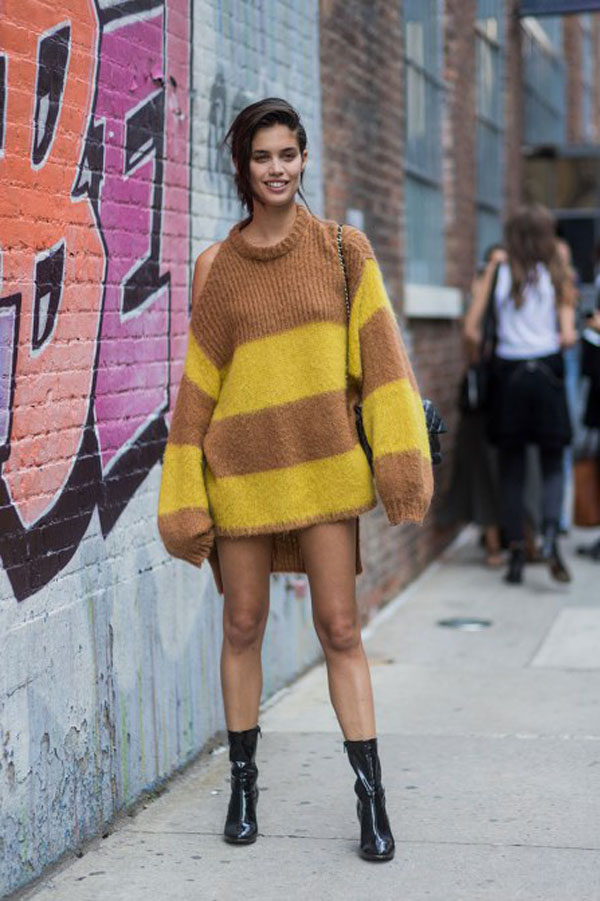 Other Clashing Colors: Brown and yellow sweater dress