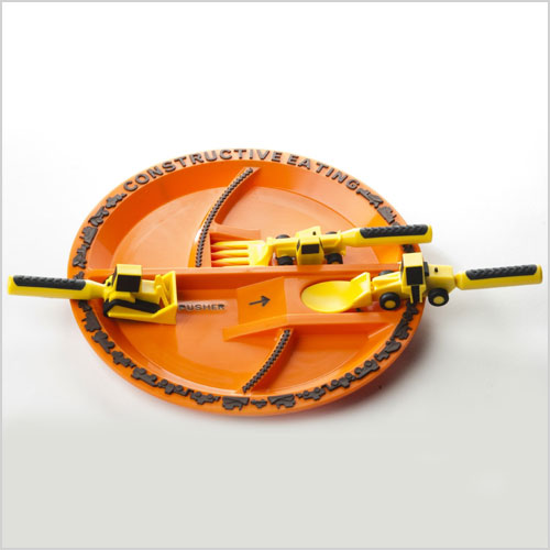 Construction vehicle utensils and plate
