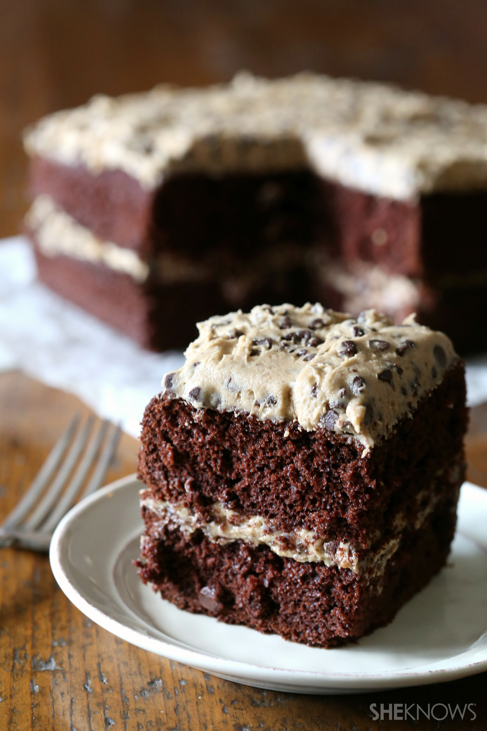 cookie dough frosted cake