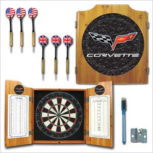 Trademark Dart Board Cabinet with Corvette Logo