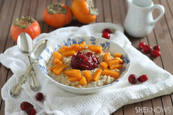 Persimmon and cranberry holiday oats