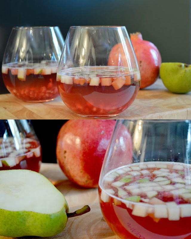 Cranberry pomegranate spritzers