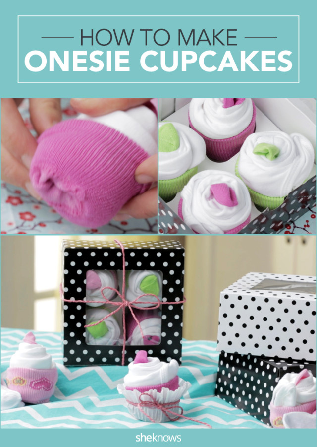 247cb3cf5c Cupcake made from onesies and socks is so cute you won t miss the ...