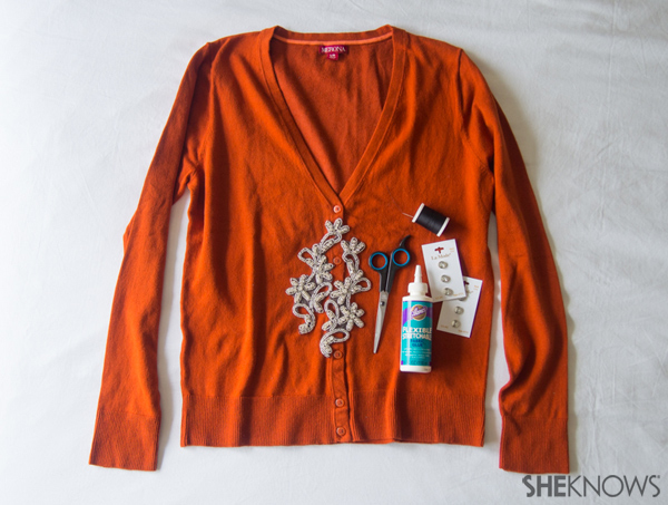 Sweater DIY: Embellished cut-outs | Sheknows.com -- supplies