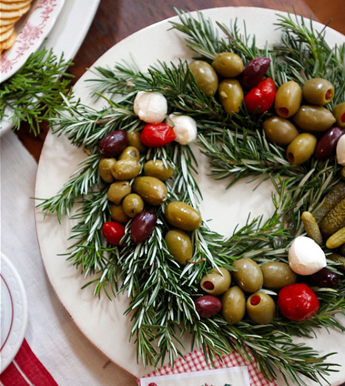 Green herb and olive wreath