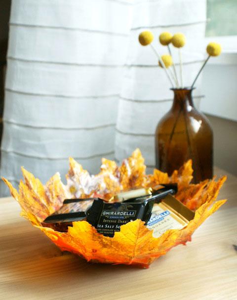 DIY autumn leaf bowl