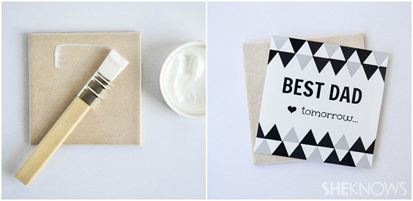 DIY personalized coasters for Father's Day: apply your message