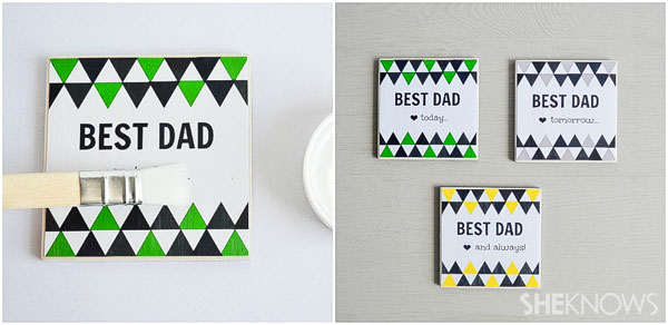 DIY personalized coasters for Father's Day: Mod Podge glue to the tops of the messages