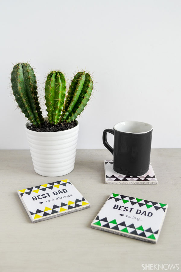 DIY personalized coasters for Father's Day: cut out pieces of felt and attach to the backs of the coasters