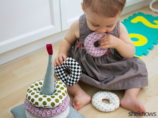 DIY stackable fabric rings: Finished playtime