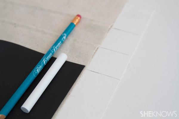 DIY Countertop message center Step 6: Mark pencil pocket location optional