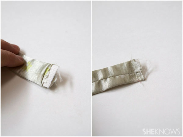 DIY fabric headband:thread your elastic through the casing