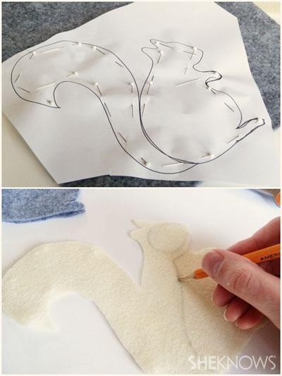 DIY Felt Squirrel: Step 1 trace and cut pattern