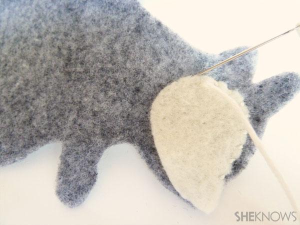 DIY Felt Squirrel: Step 3 sew on accent pieces