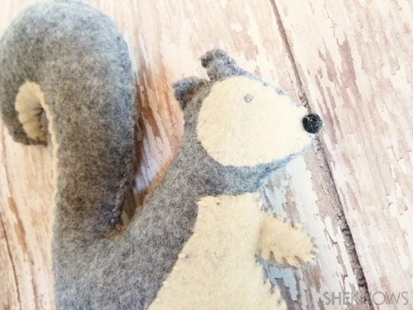 DIY Felt Squirrel: Step 6 Complete