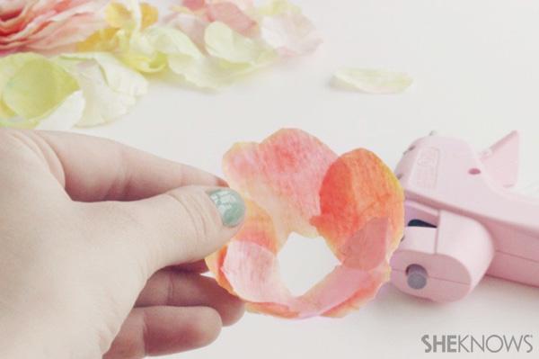 DIY Ranunculus flowers: Glue the petals together.