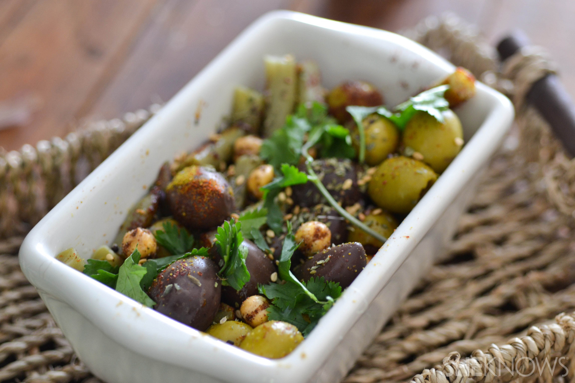 Spiced olives and crunchy green beans