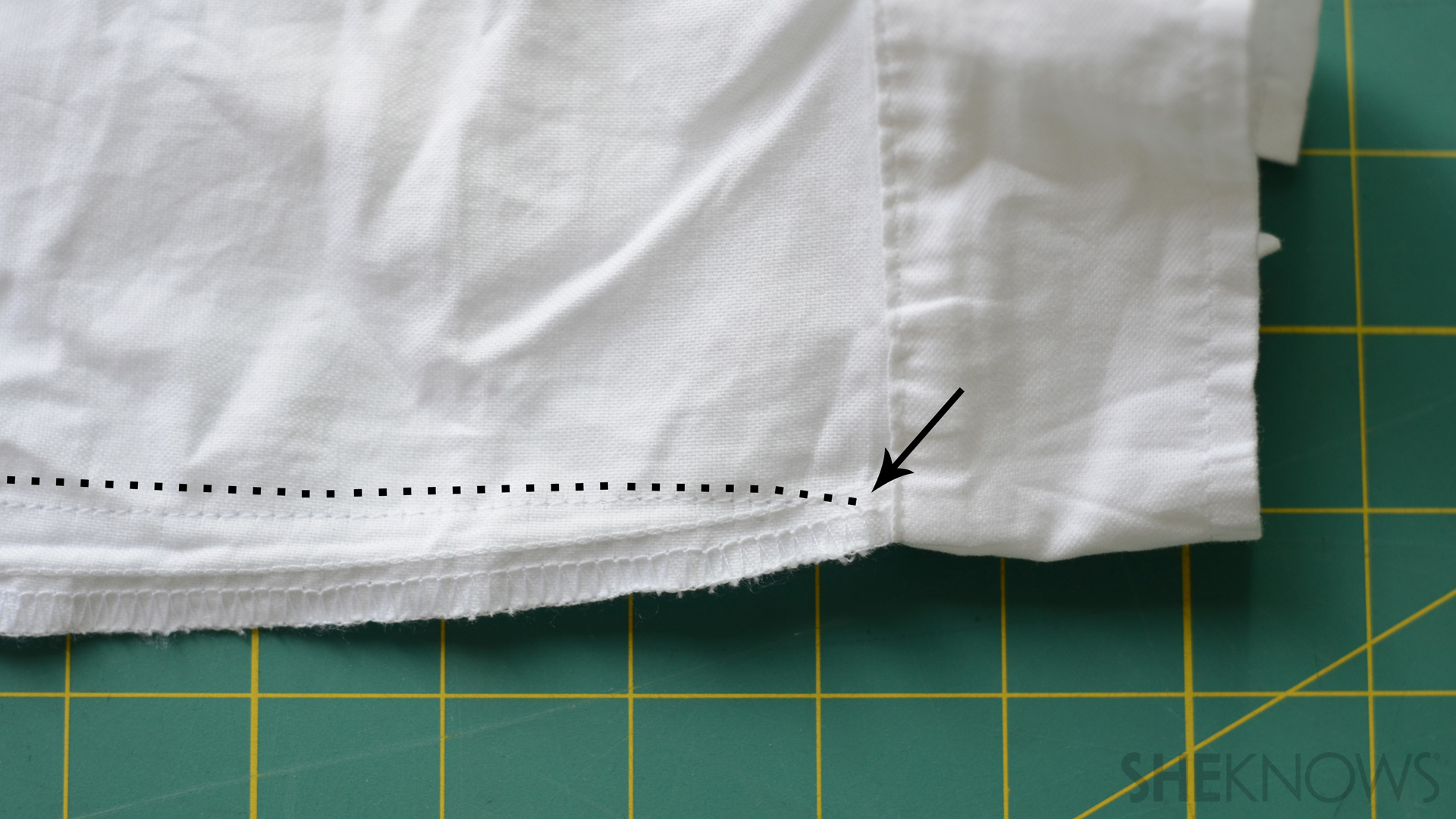 Shirt with a dotted line to show where to sew