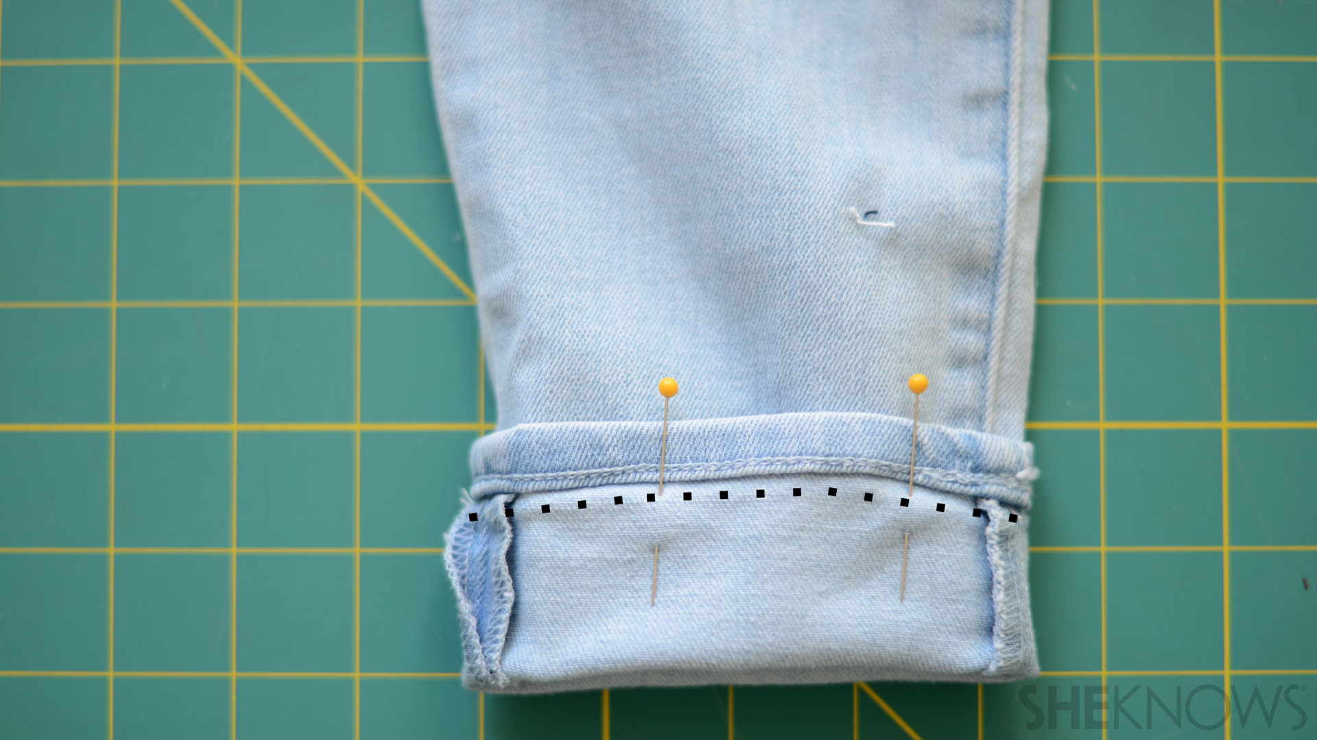 Hem the cuffs of the jeans