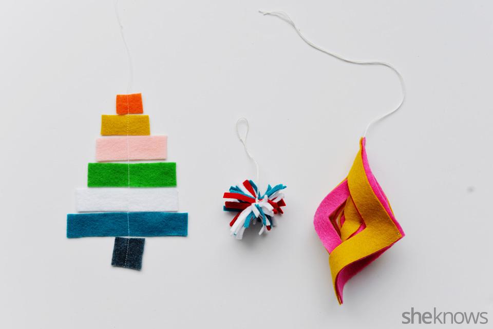 DIY felt ornaments complete
