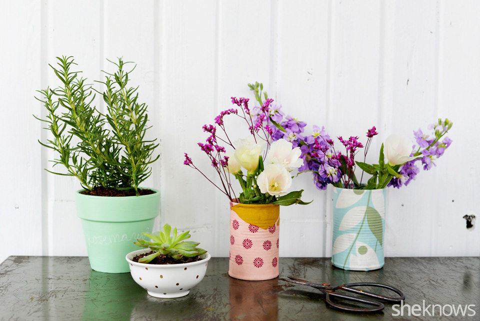 DIY Fabric Covered Vases, chalkboard pot, and metallic dot planter