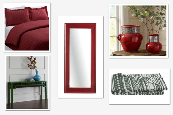 Decorating with red and green: Bedroom