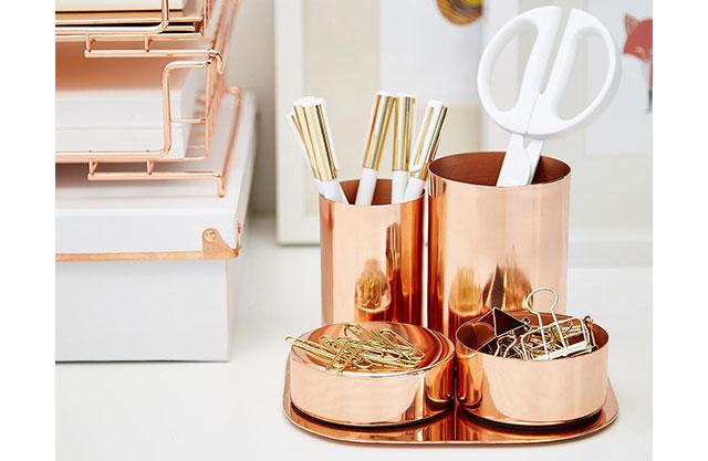 Copper desk organization set for a teacher's gift