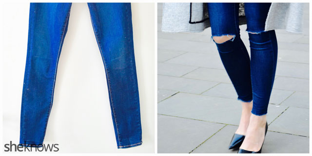 How to fray jeans: before and after