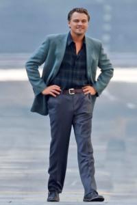 Leonardo DiCaprio on the set of Inception