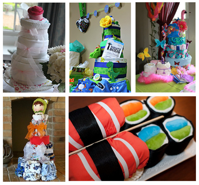 Diaper cakes collage