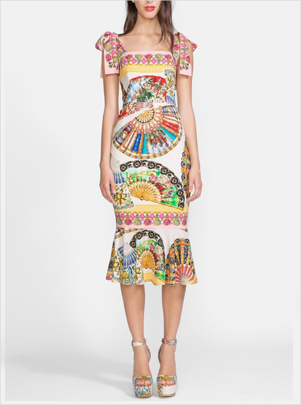 Dolce Gabbana Fan Print Stretch Silk Dress