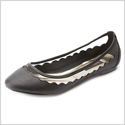 Dollhouse Mesh-Lined Scalloped Ballet Flats in Black