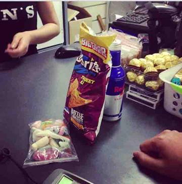 Doritos, Red Bull and lollies