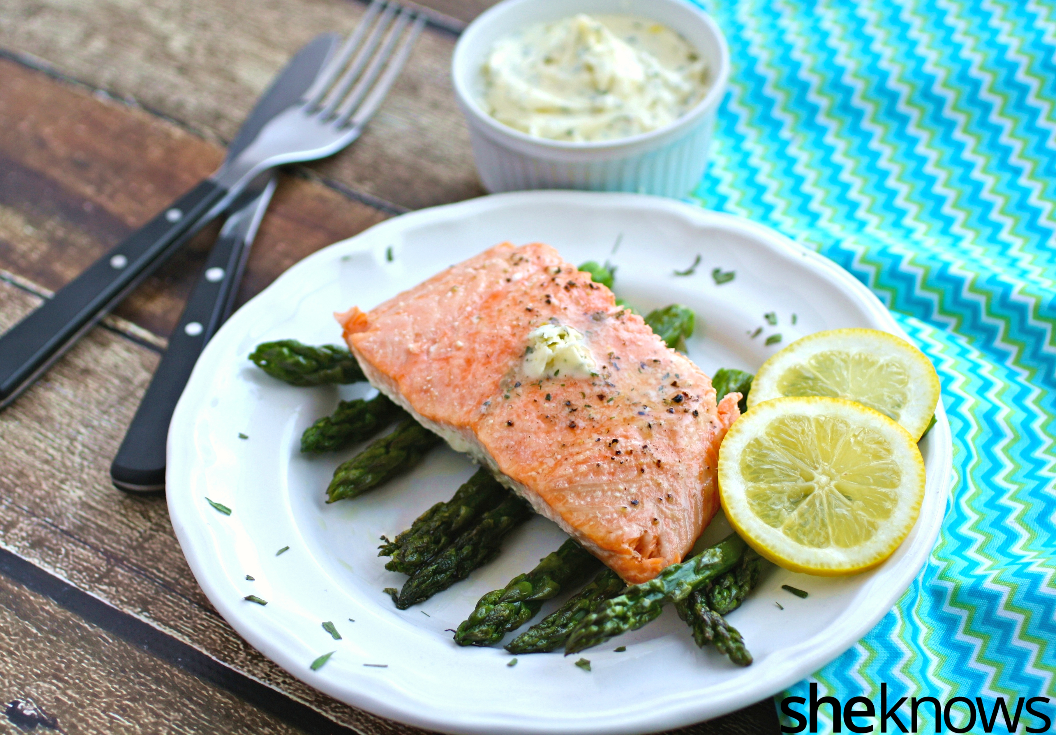 Make this easy, elegant dish -- easy oven-baked salmon with asparagus and lemon-tarragon butter - for a special gathering or a meal for your family.