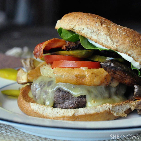 Elk burgers topped with onion rings