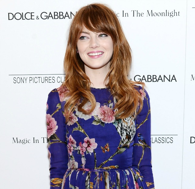 Emma Stone with red hair blue dress