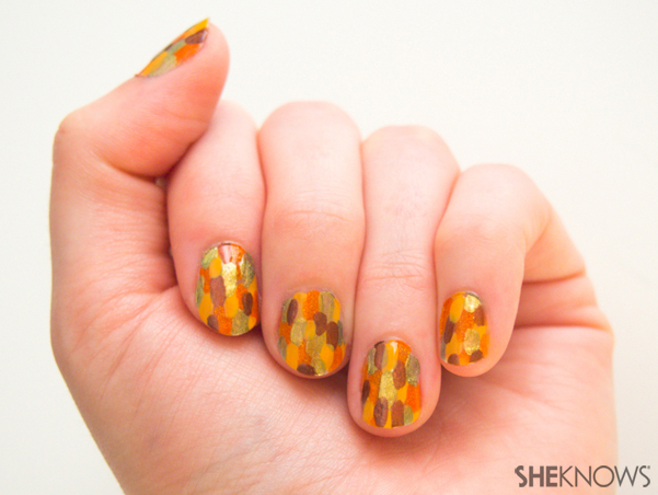 Abstract fall leaves nail design | Sheknows.com -- final result - Abstract Fall Leaves Nail Design – SheKnows