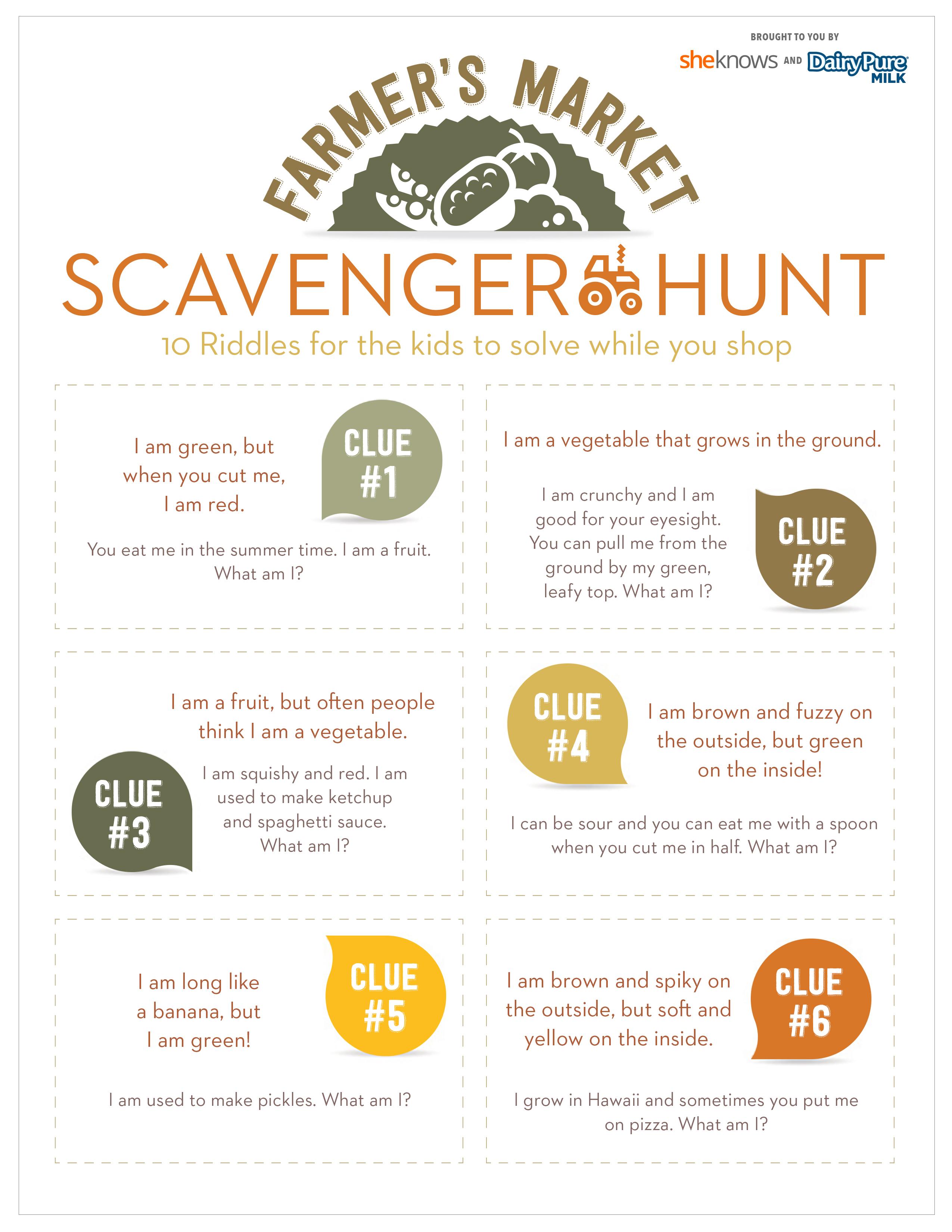 Farmers market scavenger hunt