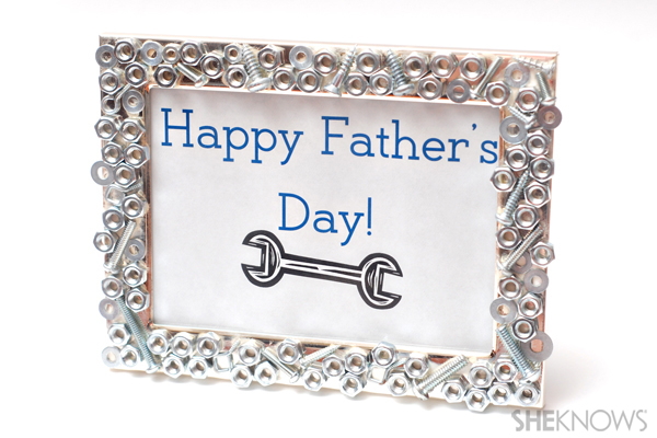 Father's Day craft - Nuts and bolts picture frame