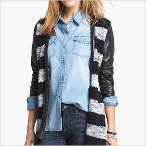 Faux leather striped cardigan