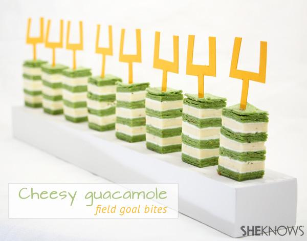 Cheesy guacamole field goal bites