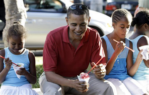 The First Family enjoys italian ice on the campaign trail