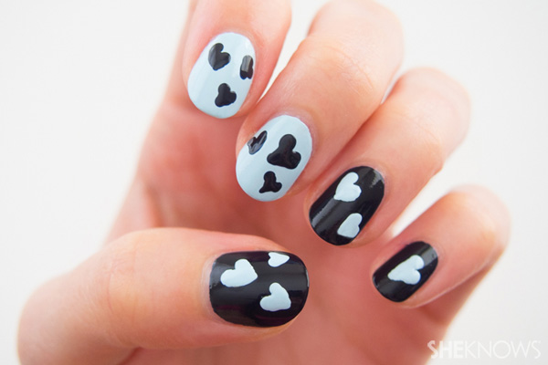 Photo tutorial: Floating hearts nail design – SheKnows