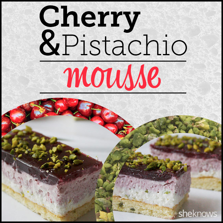 Cherry and pistachio mousse slice