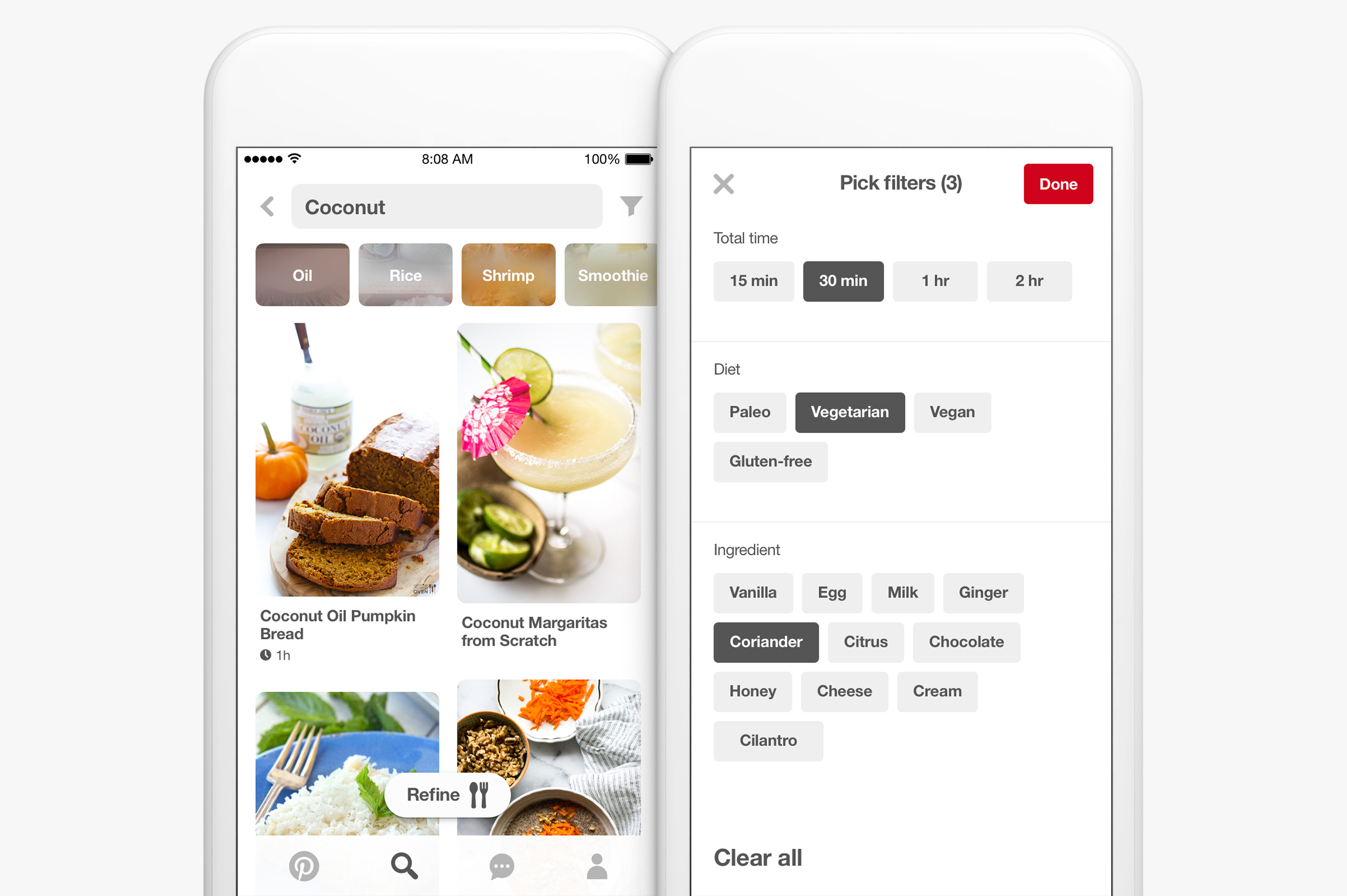 Pinterest food search features