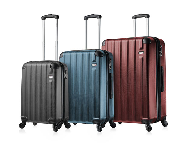 SheKnows Shop: Forget traveling light with this three-piece luggage set.