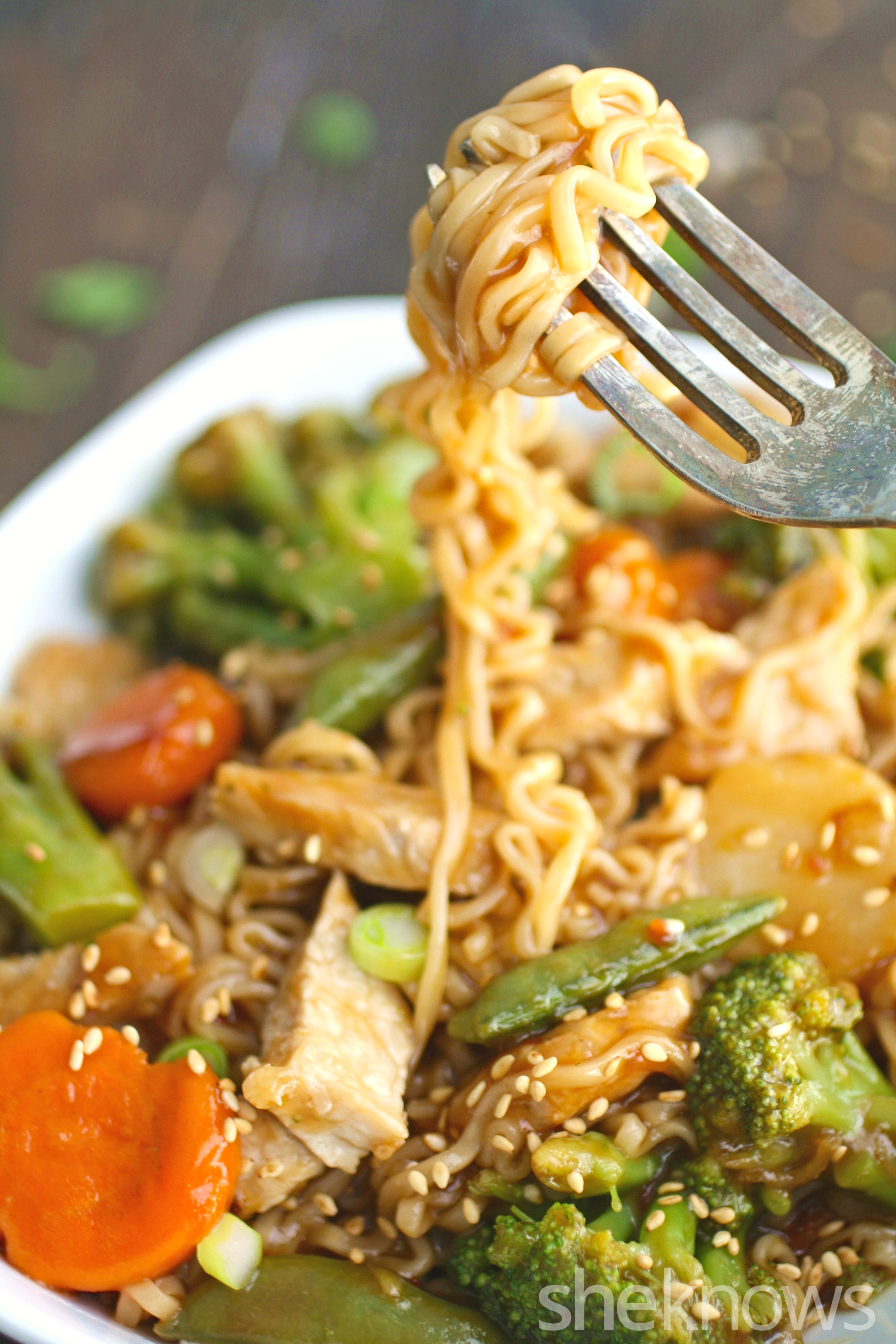 Fun to twirl, and a treat to eat, you'll love spicy pork and ramen stir-fry with vegetables!