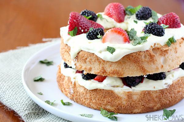 Fruit and lemon curd layered angel food cake