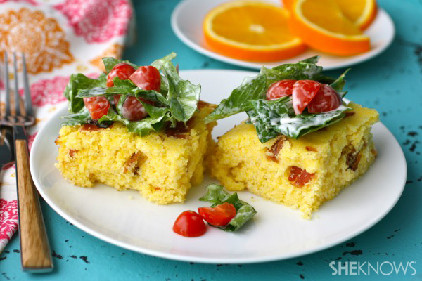 Gluten-free open-faced BLT cornbread sandwiches