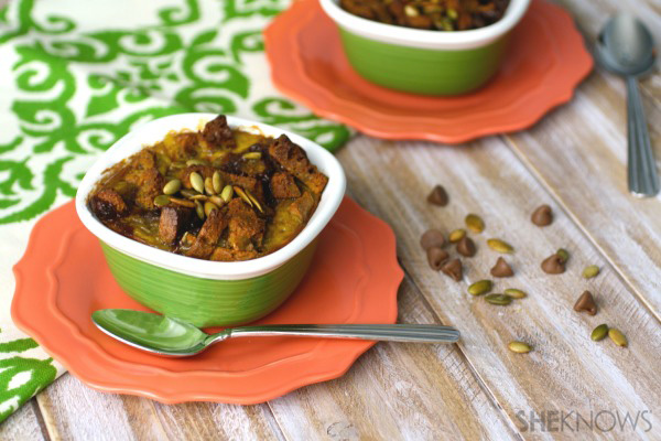 Gluten-free Goodie of the Week: Individual pumpkin-chocolate chip bread pudding